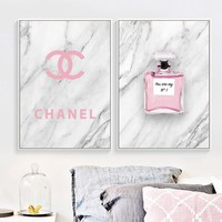 Wall Art Print Paris Pink Perfume Canvas Painting Nordic Posters And Prints Fashion Wall Pictures For Living Room Girl Bedroom