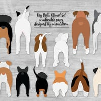 Dog Butt Illustrations Cute Pet Butts Funny Puppy Dog Clipart Pitbull Corgi Doxy Husky Boxer Beagle Poodle Bulldogs Basset Pug Rottweiler