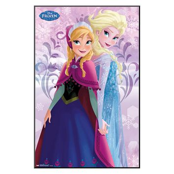 Disney's Frozen Elsa and Anna Sisters Framed Wall Art by Art.com (Purple)