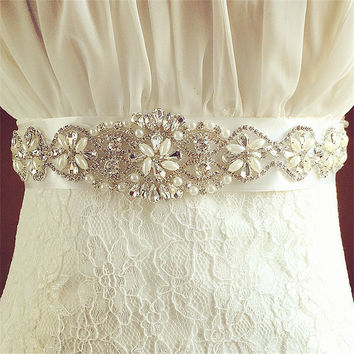 Exquisite Artificial Belts Crystal Rhinestone Pearl Beading Czech Stones Bridal Gown Sash Formal Wedding Evening Dress Belts