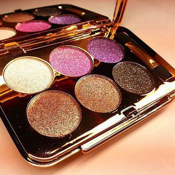 Cosmetic 6 Colours Diamond Eyeshadow Palette with Mirror and Brush