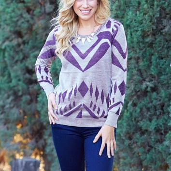 Grey-Purple-Abstract-Printed-Knit-Top