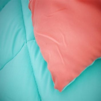 Fusion Coral/Minty Aqua Reversible College Comforter - Twin Extra Long Girls Dorm Bedding
