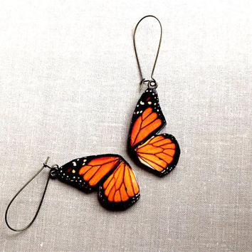 Free Shipping Worldwide, Monarch Butterfly wing earrings, Butterfly Jewelry, Butterfly wing earrings, Wing jewelry, Autumn jewelry
