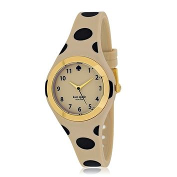 kate spade new york Women's 1YRU0611 Rumsey Beige with Black Dot's/Beige Stainless Steel and Silicone Watch at MYHABIT