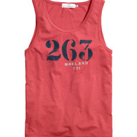 H&M - Tank Top with Printed Design - Red - Men
