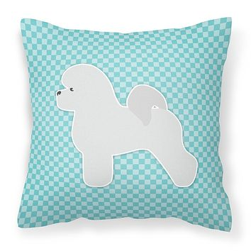 Bichon Frise Checkerboard Blue Fabric Decorative Pillow BB3745PW1818