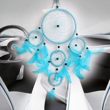 Blue Handmade Dream Catcher with Feather Bead Dreamcatcher Net Wall Hanging Decoration Ornaments Mascot Gifts