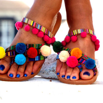 "Pom Pom sandals, Colorful leather Sandals, boho Sandals, ""Goa"" Greek Sandals, barefoot sandals, hippie leather shoes, Summer shoes"