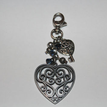 Antique Silver and Denim Blue Crystal Purse Candy / Key Chain / Zipper Pull