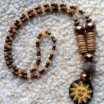 Psychedelic sun stretch beaded necklace