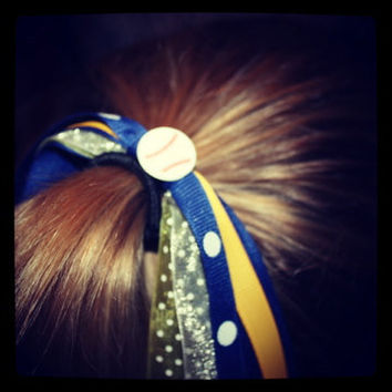 Blue and Gold Softball Hair Pony-O (more colors & sports available)