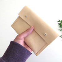 Minimal leather wallet for woman in natural color - Small leather pouch