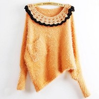 Autumn and winter women loose down yarn handmade hook lace pullover