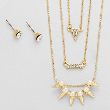 Triangle Bar Triple Necklace Set