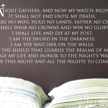 Game of Thrones - Night's Watch Oath - Vinyl Wall Decal