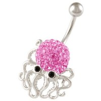 "cute belly button rings dangle unique animal 14g a piece - pick you color - 3/8"" long surgical steel sexy dangle unusual octopus navel piercing jewelry BEAD (Octopus Rose (Pink))"
