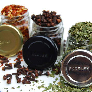 Glass Spice Jars // Custom Magnetic Spice Rack: 24 Empty Containers (1.5 oz), Hand-Stamped Lids with your Choice of Spice Names.