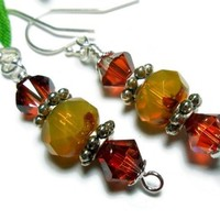 Earrings Crystal Opaque Amber Picasso Handmade Beaded Fashion Jewelry
