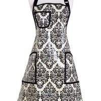 Jessie Steele Apron Chef Cream and Black Damask Eva Coated