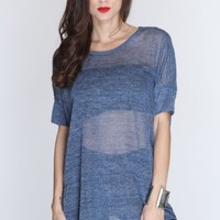 Slate Blue Open Knitted High Low Hem Top