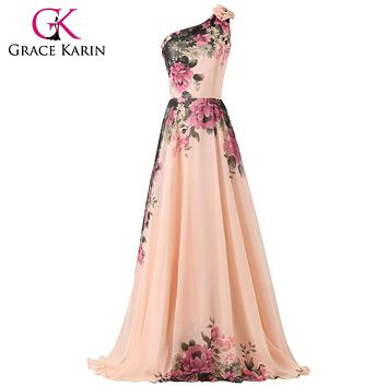 Modest  Chiffon Flower Printed Evening Dresses Mixed Style Floor Length Party Gown Elegant Prom Dress