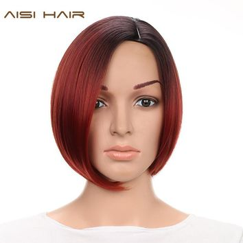 HAIR Short Synthetic Ombre Wigs for Black Women Straight Bob Hairstyle With Heat Resistant