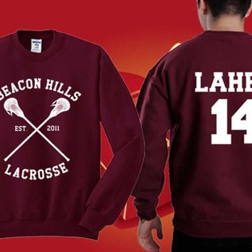 Isaac Lahey 14 BEACON HILLS Sweater Maroon Sweatshirt Crewneck Men or Women Unisex