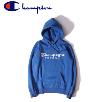 Unisex Lovers' Champion Printed Blue Hoodies Pullover Sweater