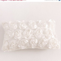 SHABBY CHIC White Decor Pillow with Rosettes Floral Satin Texture and Gorgeous White Faux Fur