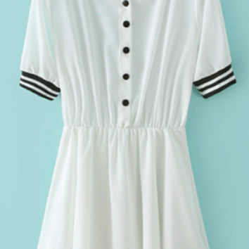 White Short Sleeve Pleated Dress with Stripe Trim Details