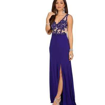 Kristin- Royal Embellished Prom Dress