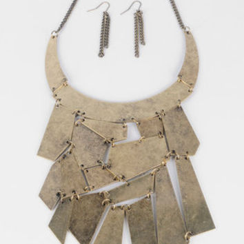 Mosaic Bib Necklace with Earrings in Brass :: tobi