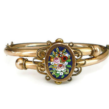 Antique Bracelet, Micro Mosaic, Gold Filled, Bypass Bracelet, Hinged Bangle, Floral Flowers, Victorian Jewelry, Edwardian Jewelry