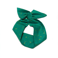 Metallic Gold Floral Print in Green Wire Headband Dolly Bow Knot Headband by All Things in Color
