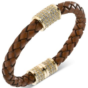 Michael Kors Bracelet, Gold-Tone Brown Braided Leather Crystal Pave Barrel Bracelet - Michael Kors - Jewelry & Watches - Macy's
