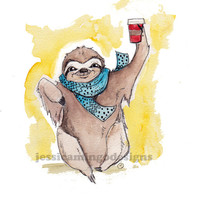 Caffeinated Sloth Print, Sloth Art, Coffee Print, Coffee Art, Sloth Humor Print, Humor Art, Sloth,