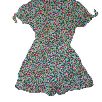 80s Teal and Pink Mini Floral Romper / Jumper // Jamie Brooke //  Tie Back Waist // Size Medium