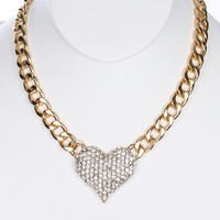 NECKLACE / PAVE CRYSTAL STONE / METAL HEART BIB / LINK / CURB CHAIN / 14 INCH LONG / 1 1/2 INCH DROP / NICKEL AND LEAD COMPLIANT