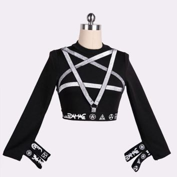 Punk Gothic Pentagram T-Shirt Women Long Sleeve Bandage Slim Tee Top Female