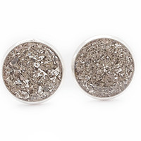 Silver Crushed Glass Earrings / Stud Earrings / Silver Earring Posts / Silver jewelry / Sparkle Earrings / Small Cute Pretty Round Earrings