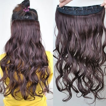 Girls Women Fashion Big Wave Long Curly Hair Wigs  (Color: Brown) = 1841364932