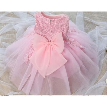 Pink White Baby First Birthday Dresses For Girls Tulle Infant Toddler Girl Christening Gown Flower Girl Dress For Wedding Party