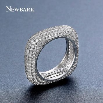 NEWBARK Unique Square Wedding Band Rings Eternity Rings For Women Luxury Jewelry Paved Full AAA CZ Special Gifts Bague Femme