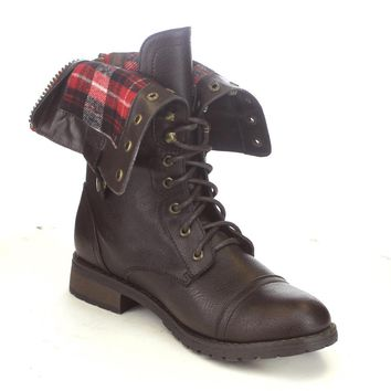 FN37 Women's Folded Cuff Back Zipper Block Heel Combat Military Boots