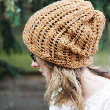 Knitted Slouchy beanie Hippie Lacey  Slouchy Unisex Dreads Hat