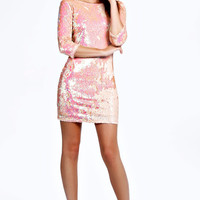 Becca Sequin Bodycon Zip Back Dress
