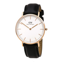 Daniel Wellington 0508DW Women's Classic Sheffield White Dial Rose Gold Steel Black Leather Strap Watch