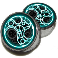 """Dr Who Time Lord Plugs - 1 Pair (2 plugs) - Sizes 8g to 2"""" - Made to Order"""