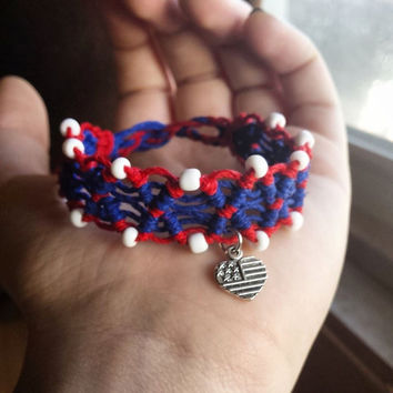 USA Bracelet - Seed Beaded - Macrame Bracelet - Hemp Jewelry - Cuff Bracelet - Made in USA - Patriotic Bracelet